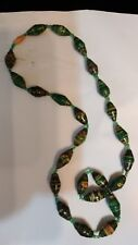 yellow, made in Uganda Nwot Paper Bead choker necklace green, gray