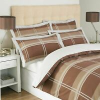 DUVET COVER SET LUXURY BROWN PRINT YORK CHECK QUILT BEDDING COVERS KING SIZE