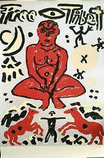 "A.R. Penck ""Free Tibet"" Siebdruck - handsigniert - 121 x 80 cm"