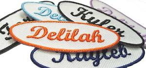 Personalised Oval Embroidered Name Patches Sew Iron On Badge Jeans Club