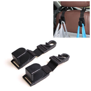 2Pcs Car Seat Headrest Hooks Purse Bag Hanger Organizer Holder Clips Universal