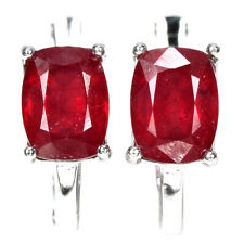 GENUINE AAA BLOOD RED RUBY CUSHION STERLING 925 SILVER DROP EARRING