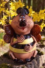 Keramik Biene Lydia 17x13cm Handarbeit Gartenstecker Insekt Tierfigur
