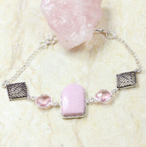 "Pink Agate 925 Silver Plated Handmade Gemstone Bracelet of 8.9"" Ethnic Gift"