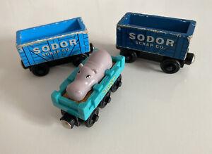 wooden thomas the tank engine trains Sodor Scrap Cars X 2 & Hippo Car Sodor Zoo