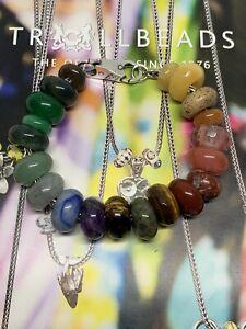 TROLLBEADS 19cm Bracelet Inc Flower Lock & 20 Unique Gemstone Beads RRP £400