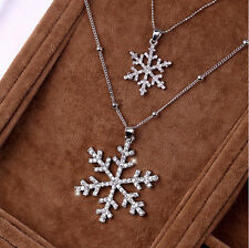 Xmas Rhinestone Crystal Double Chain Snowflake Pendant necklace Silver Christmas
