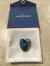 Beautiful Hand Blown Glass Heart Pendant - New in Box
