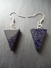 0b0aa4154 Blue Sandstone Goldstone 925 Sterling Silver Earrings Gemstone Success Gift