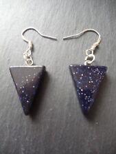 Blue Sandstone Goldstone 925 Sterling Silver Earrings Gemstone Success Gift