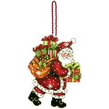 Santa & Big Bag Of Toys Ornament Cross Stitch Kit by Dimensions