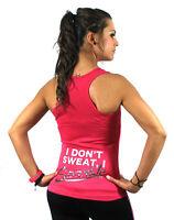 I Dont Sweat Training Sexy Ladies Women Racerback Gym Yoga Workout Vest Tank Top