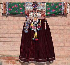 Kuchi Culture Coins Balochi Fashion Long Afghan Unique Old Ethnic Vintage Dress