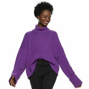 NINE WEST $64 Purple Pansy Wool Blend Turtleneck Oversized Chunky Knit Sweater M