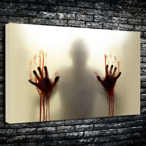 Bloody Hands Horror Art Printed Box Canvas Picture Multiple Sizes