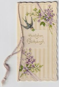 Antique 1911 German Card - Congratulations on Name Day - Embossed/Hand Painted