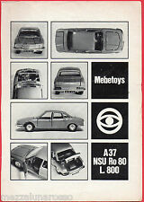 Pubblicità Advertising 1969 MEBETOYS A37 NSU Ro 80