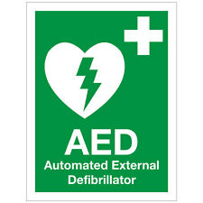 AED DEFIBRILLATOR STICKER SIGN - SELF ADHESIVE  VINYL - 150MM X 200MM