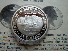 25 Dollars CENTENARY OF BRITISH SOVEREIGNTY HYACINTH 37g 925 Silber PP / Proof