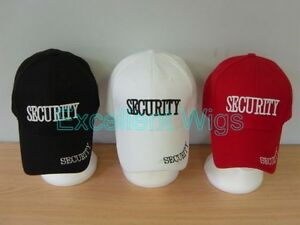 Security Guard Baseball Caps Hats Mens One Size Party Black Red White