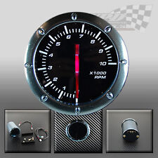 """TACHOMETER RPM 52MM / 2"""" WHITE LED SMOKED FACE GAUGE FOR DASH OR POD HOLDER"""