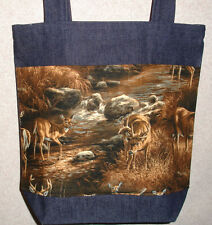 NEW Handmade Medium Deer Buck Fall Wildlife Denim Tote Bag