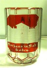 Vintage Ruby Stained Kurhaus in Bad Soden Germany Spa Measuring Glass Mug