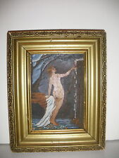 BEAUTIFUL ANTIQUE ART DECO NUDE WOMAN  NEAR FALLS OIL ON PANEL PAINTING