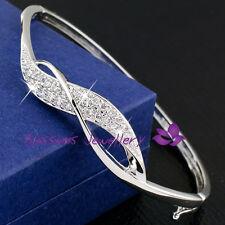 18K White GOLD GF Wave Wedding Bangle Bracelet with SWAROVSKI CRYSTAL S629 GIFT