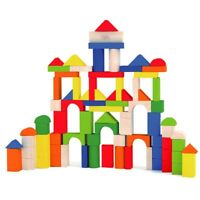 80 Pcs Solid Building Blocks Children's Wood Toys Pieces Xmas Gift Construction