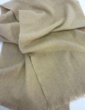 Vintage CASHMERE & WOOL Winter Scarf Soft Khaki Tan