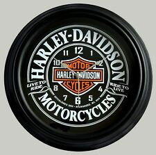 """HARLEY DAVIDSON  MOTORCYCLES """"LIVE TO RIDE"""" THEMED WALL CLOCK."""