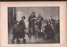 LES AFFAMÉS ENFANT PAUVRES PEINTRE Jean Geoffroy 1886 GRAVURE ANTIQUE PRINT