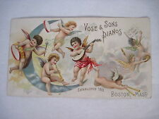 Precious Victorian Trade Card Sweet Angels Playing Instruments for Vose Pianos *