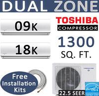 27000 BTU Dual Zone Ductless Mini Split AC/Heat Pump,9k+18k, Linesets included