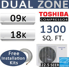 27000 BTU Dual Zone Ductless Mini Split Air Conditioner Heat Pump, 9000 + 18000
