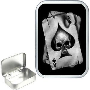Ace Of Spade's. Silver Tobacco Tin , Bait Tin ,Storage Box, Pocket Tin 1oz & 2oz