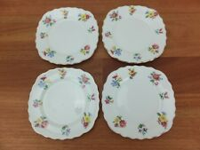 Vintage VALE England Bone China Side Plates x4 Pink Blue Yellow Floral Scalloped