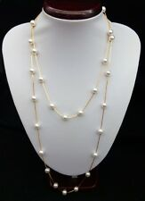 Elegant 110 cm Pearl Gold Plated Long Necklace Copper Chain Necklace