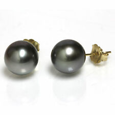 Tahitian  Pearl Stud Earrings  AAA Flawless  9mm Black 14kt  Gold