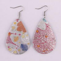 White Leather Floral Teardrop with Multi Color Floral/Leaf Print