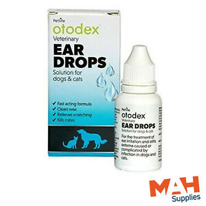 Otodex Ear Drops Cats Dogs Clears Wax Kills Mites Relieves Scratching - 14ml