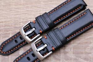 Handmade Watch Strap Genuine Smooth Calf Leather Black Padded Orange Stitch