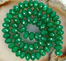 "5x8mm Natural Faceted Green Emerald Rondelle Gemstone Loose Beads 15"" AAA"