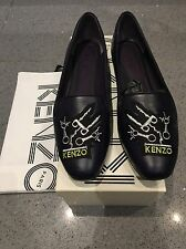 100% Authentic Kenzo Leather Flat Pumps with Tiger Embroidery Size 41! Worn Once