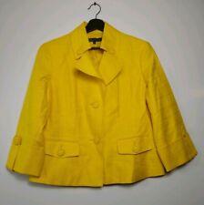 Anne Klein Yellow Linen Blend 3/4 Sleeve Jacket Blazer Size 14 pockets 2 Buttons