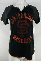 San Francisco Giants MLB Women's Touch Black Short Sleeve V-Neck Shirt
