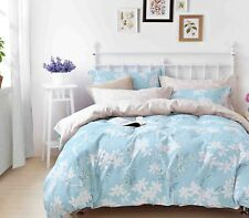 100% Premium Cotton Reversible Design Blue White Floral Printed Duvet Cover Set