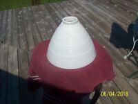 "White Vintage Square Cut Diamond Pattern Diffuser Globe 2 1/8"" Fitter"