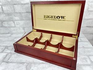 Bigelow Tea 8 Compartment Mahogany Wooden Tea Chest